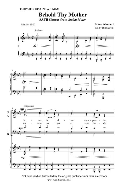 Behold Thy Mother (E flat, SATB voicing)